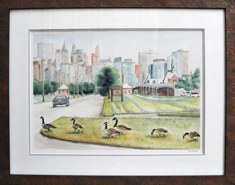 Les oies de Liberty Park, New York city Kimié,  glacis,  non figuratif,  Kija,  aquarelle,  watercolour